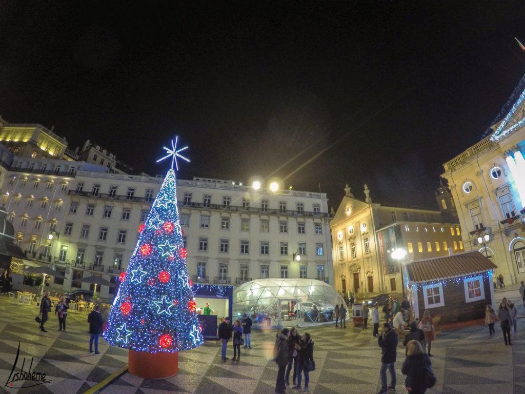Marché de Noël de la praça do Município, lumières de Noël de Lisbonne 2018