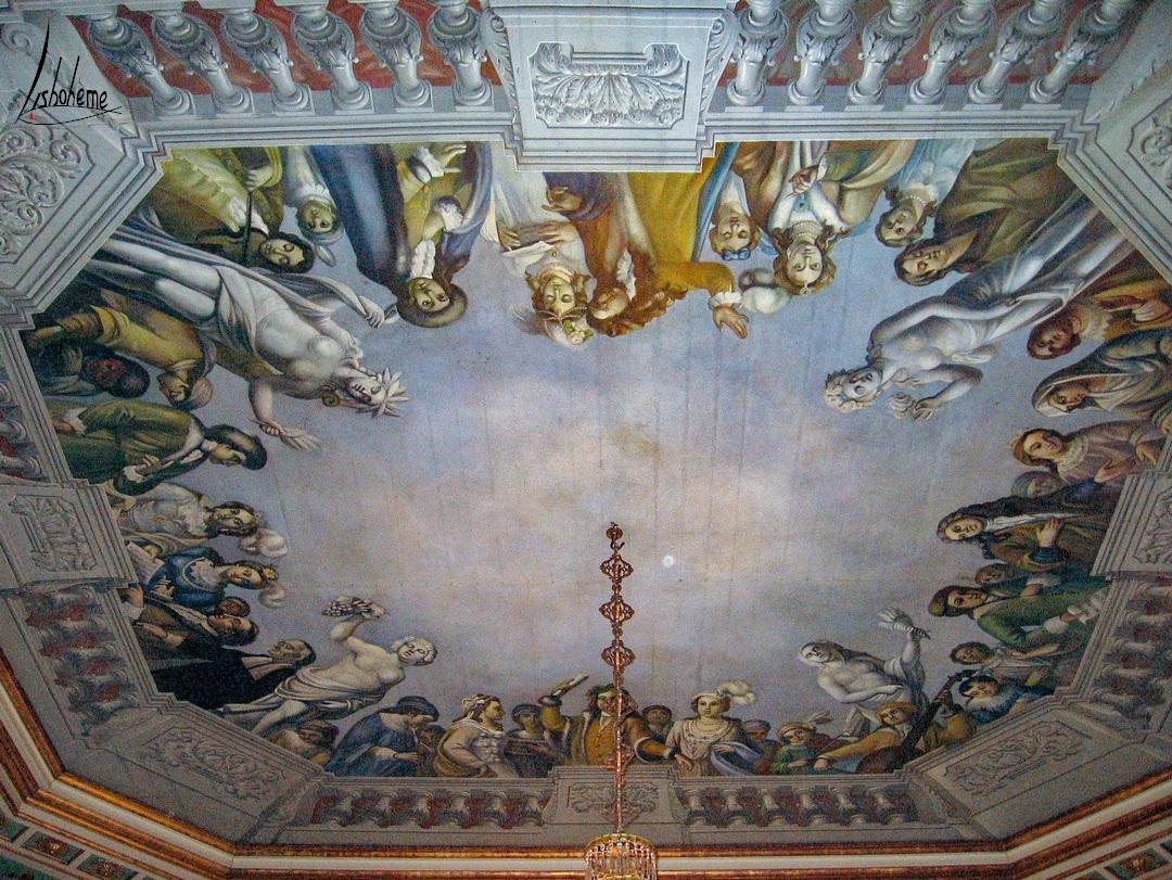 Plafond peint Salle des Ambassadeurs ou des Colonnes, Palais de Queluz à Sintra, près de Lisbonne, Portugal