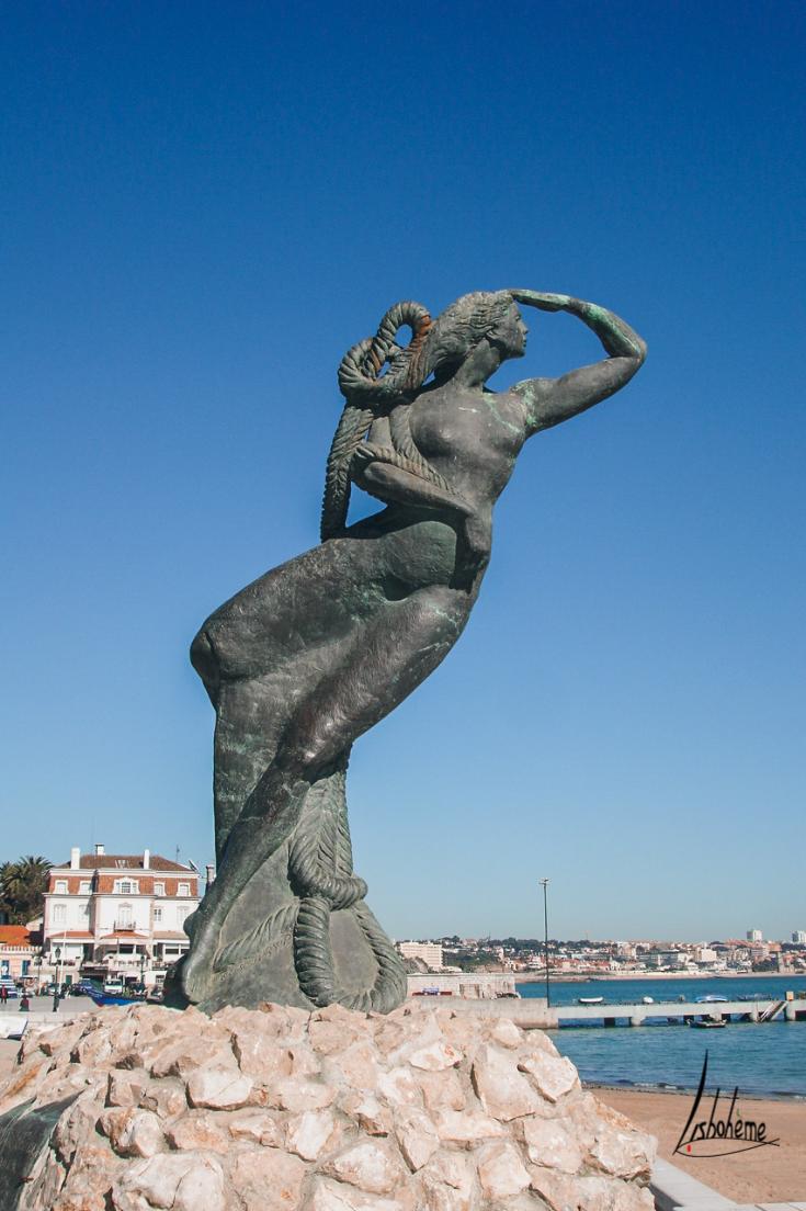 Statue femme, Cascais, région de Lisbonne, Portugal